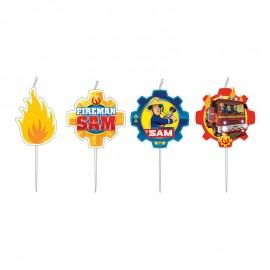 4 Bougies avec Médaillon Sam le Pompier