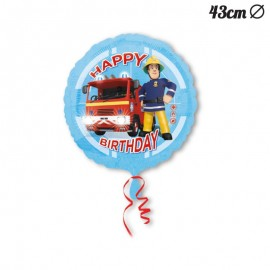 Ballon Happy Birthday en Mylar Sam le Pompier 43 cm