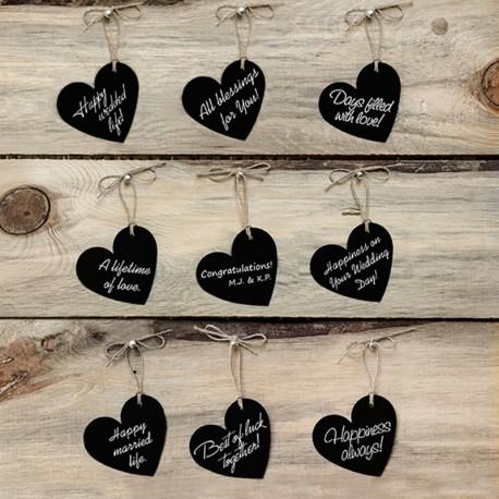 10 Etiquettes en Coeur avec Ficelle