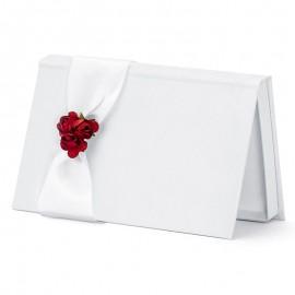 Enveloppe pour Mariage Blanche avec Fleurs Rouges