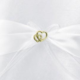 Coussin Pour Alliance Blanc Avec Coeurs Dorés