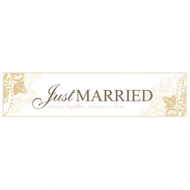 Plaque d'Immatriculation Just Married Dorée