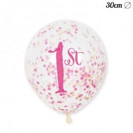 6 Ballons à Confettis 1 An Pour Fille 30 cm