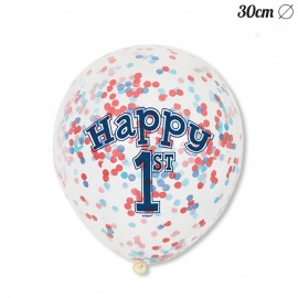 6 Ballons à Confettis 1 An Pour Garçon 30 cm