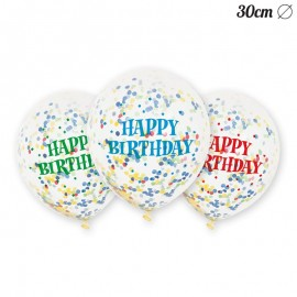 6 Ballons à Confettis Happy Birthday 30 cm