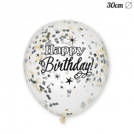 6 Ballons à Confettis Happy Birthday Elegant 30 cm
