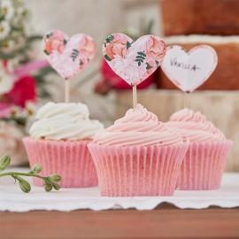 10 Toppers Fleuris pour Cupcake Boho
