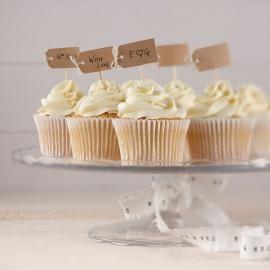 12 Toppers pour Cupcake en Kraft
