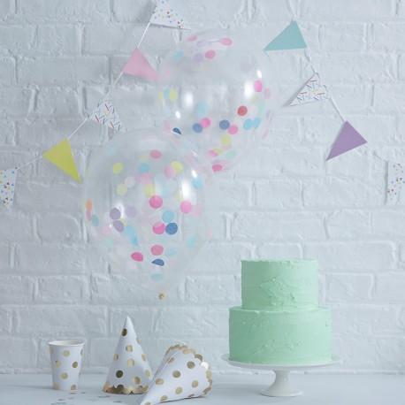5 Ballons de Confettis Couleurs Pastel 30 cm