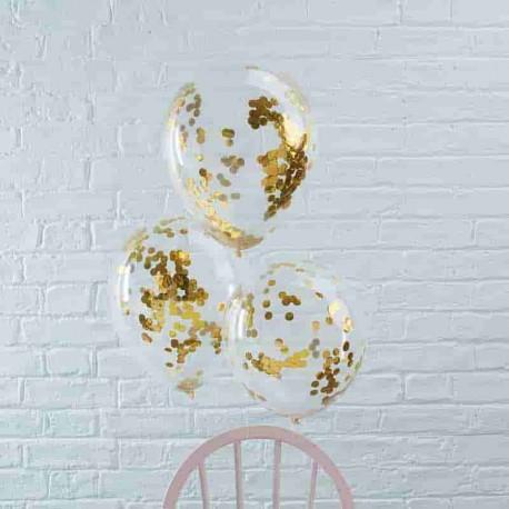 5 Ballons avec Confettis Métalisés 30 cm