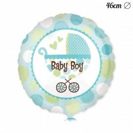 Ballon Baby Shower garçon avec panier 46 cm