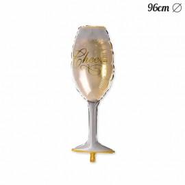 Ballon Forme coupe de champagne en mylar 96 cm