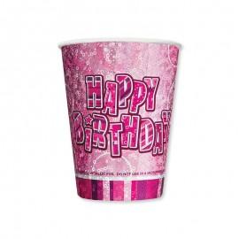 8 Gobelets Happy Birthday Rose Glitz