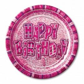 8 Assiettes Happy Birthday Rose Glitz 23 cm