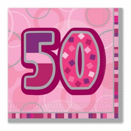 16 Serviettes 50 Ans Rose Glitz