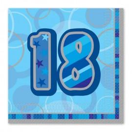 16 Serviettes 18 ans bleu Glitz