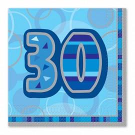16 Serviettes 30 ans bleu Glitz