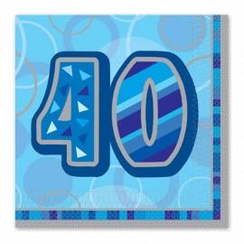 16 Serviettes 40 ans bleu Glitz