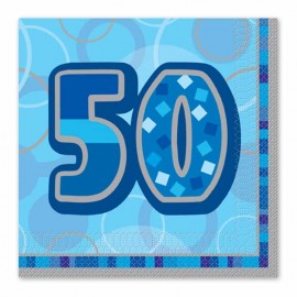 16 Serviettes 50 ans bleu Glitz