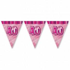 Fanion 40 Ans Rose Glitz