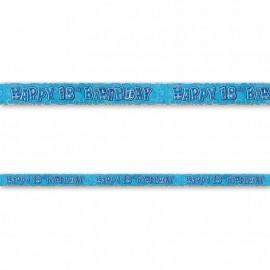 Pancarte Happy Birthday 18 ans bleu Glitz