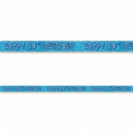 Pancarte Happy Birthday 30 ans bleu Glitz