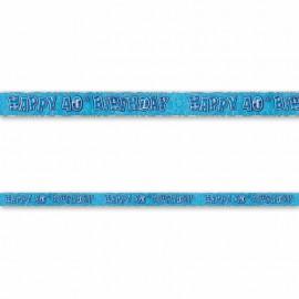 Pancarte Happy Birthday 40 ans bleu Glitz