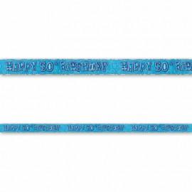 Pancarte Happy Birthday 50 ans bleu Glitz