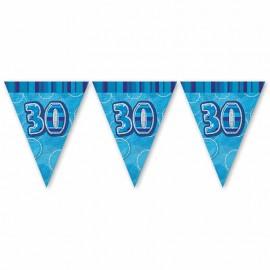 Fanions 30 Ans Bleu Glitz