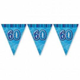 Fanion 60 Ans Bleu Glitz