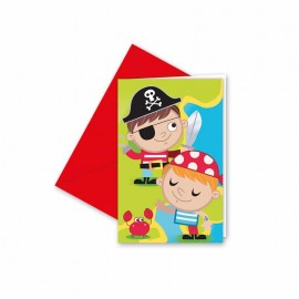 6 Invitations Pirate Enfant