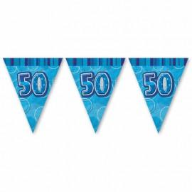 Fanion 50 Ans Bleu Glitz