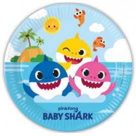 8 Platos Baby Shark de Papel 23 cm