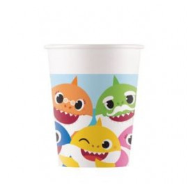 8 Vasos Baby Shark de Papel 200 ml
