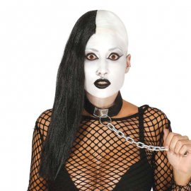 Perruque Noire Longue Demi Crâne
