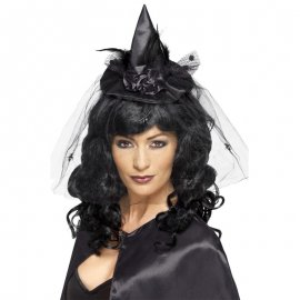 Diadème Noir avec Mini-chapeau de Sorcière