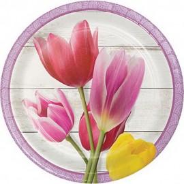 8 Platos Flores y Petalos 18 cm