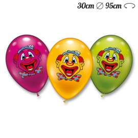 Ballons Arrondis Visage Clown 30 cm