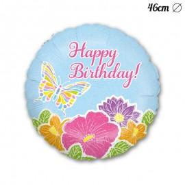 Ballon Happy Birthday à Fleurs et Papillons 46 cm