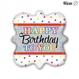 Ballon Carré Happy Birthday To You En Mylar 46 cm