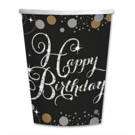 8 Gobelets Happy Birthday Chic 266 mL