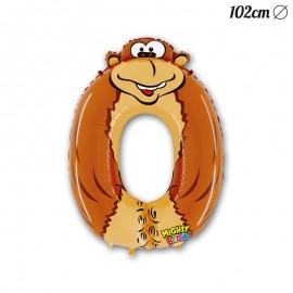 Ballon Gorille Mylar Forme Chiffre 0 102 cm