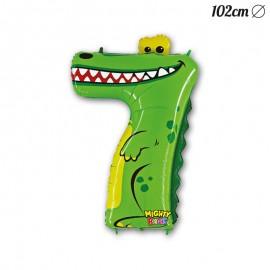Ballon Crocodile Mylar Forme Chiffre 7 102 cm