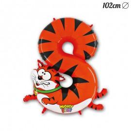 Ballon Tigre Mylar Forme Chiffre 8 102 cm
