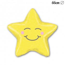 Ballon Smiley En Forme D'Etoile Mylar 66 cm