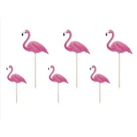 6 Toppers Flamants Rose