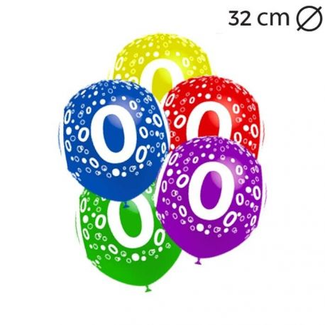Ballons Chiffre 0 Ronds 32 cm