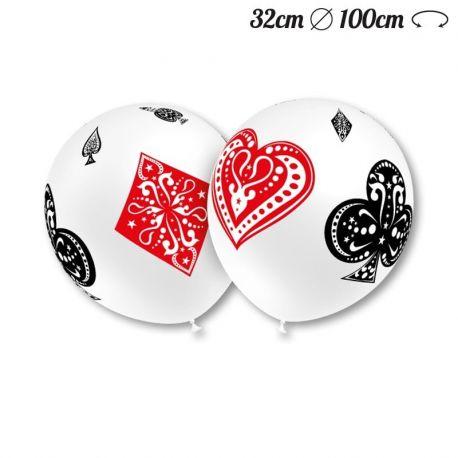 Ballons Ronds Motif Poker 32 cm