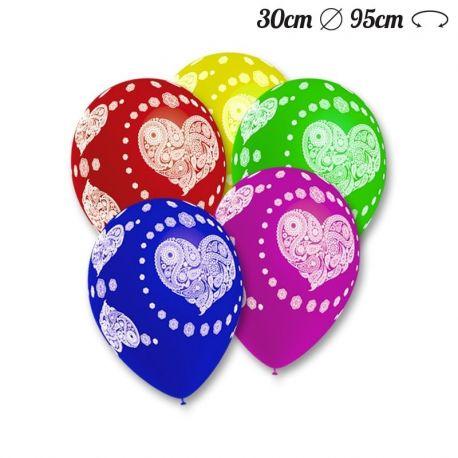 Ballons Ronds Motif Coeur Hippies 30 cm