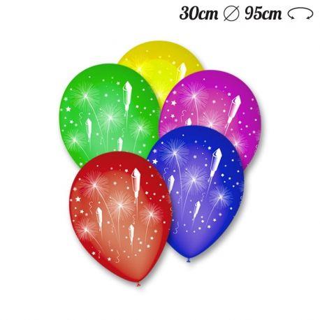 Ballons Ronds Motif Feu d'Artifice 30 cm